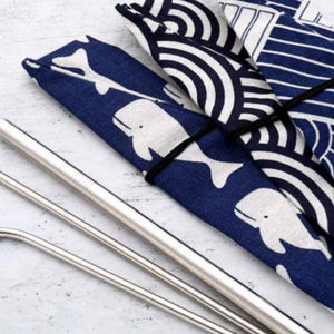 Reusable stainless steel straw set with pouch - Ecomended