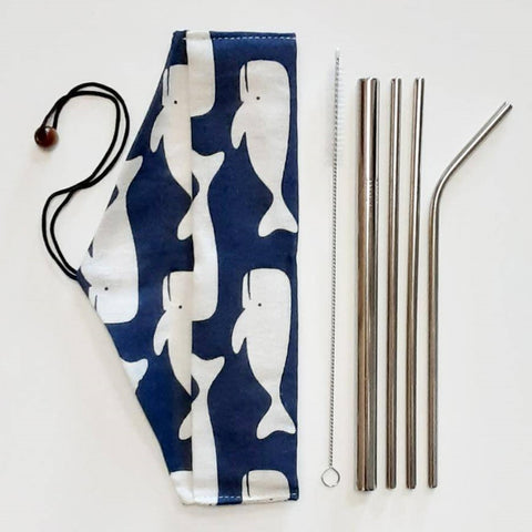 Image of Reusable stainless steel straw set with pouch - ecomended - 5