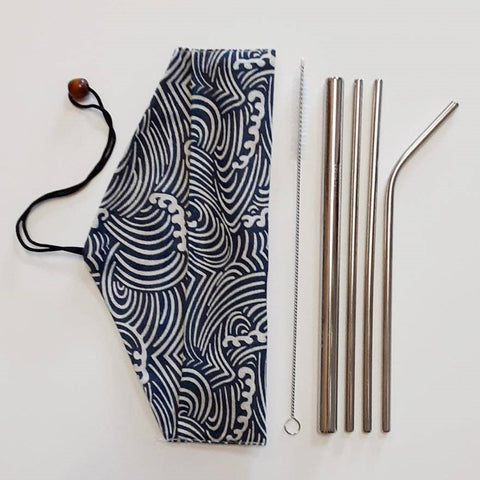 Image of Reusable stainless steel straw set with pouch - ecomended - 6