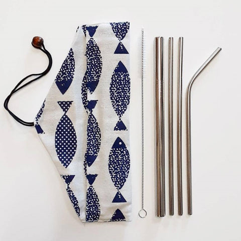 Image of Reusable stainless steel straw set with pouch - Ecomended