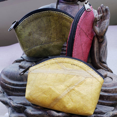 Teak Leaf Leather coin purse XS - ecomended - 1