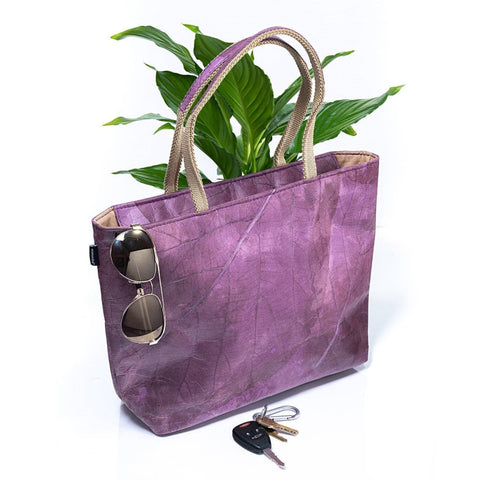 Vegan Leaf Leather Tote (Medium) - Ecomended