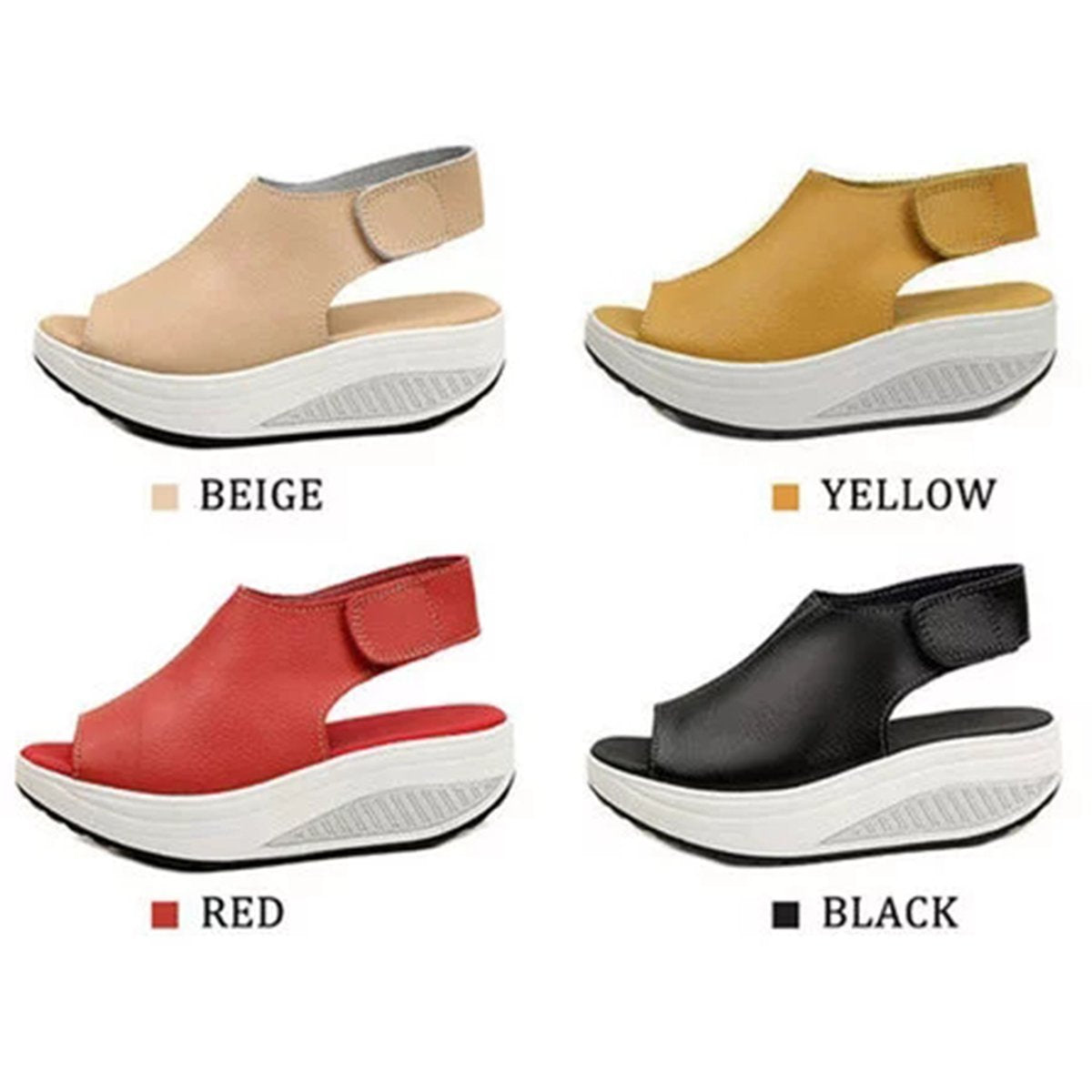 22141466c4bb Casual Microfiber Leather Wedge Heel Magic Tape Sandals Woman Shoes ...