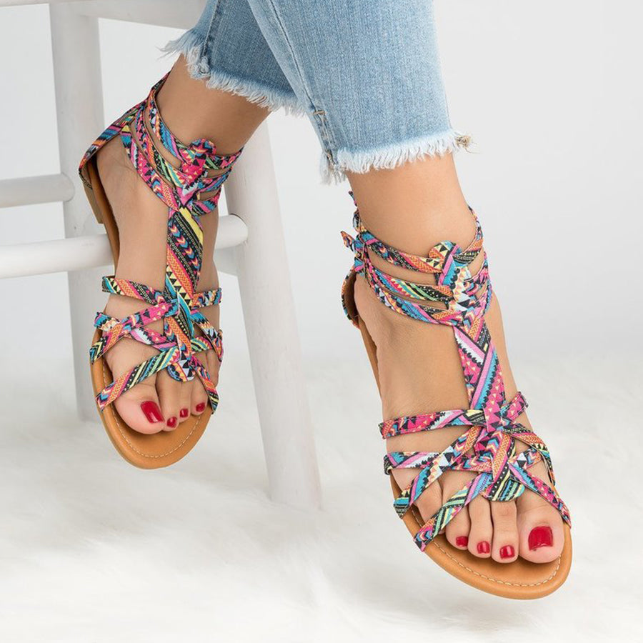 f39a1ab32cb Floral Flat Ankle Strap Peep Toe Casual Gladiator Sandals – VinaVince