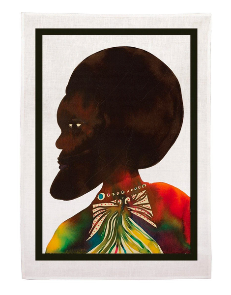"""Afromuses Couple"" (Man) Tea Towel x Chris Ofili"