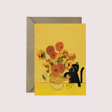 Sunflower Cat Greeting Card