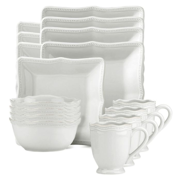Lenox French Perle Bead Square 16-Piece Dinnerware Set in White