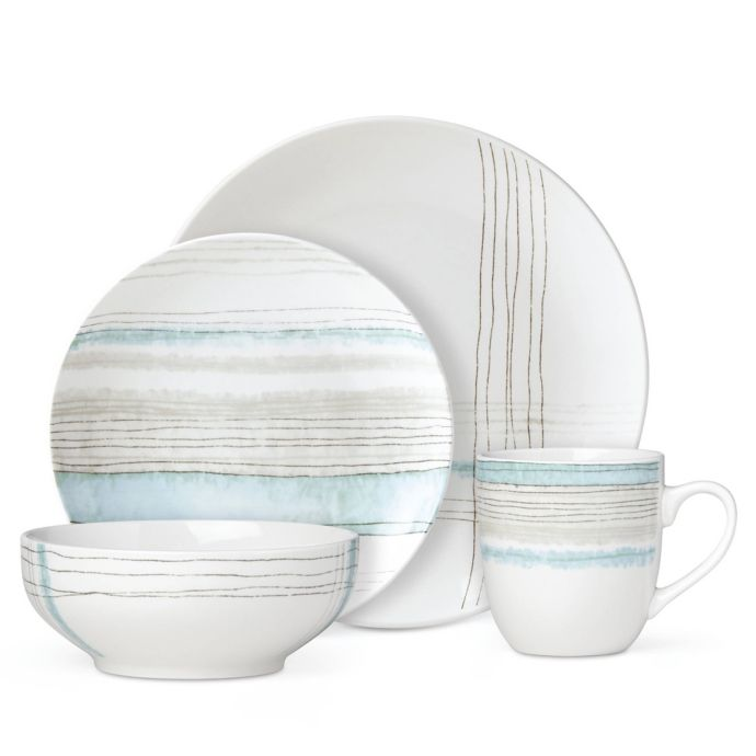 Lenox Woven Stripes Aqua 4-Piece Place Setting