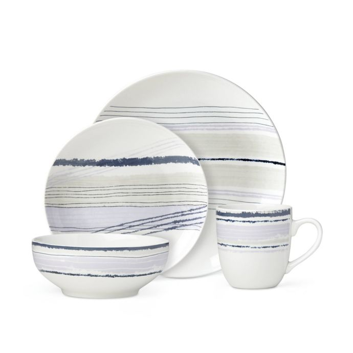 Lenox Woven Stripes Lavender 16-Piece Dinnerware Set