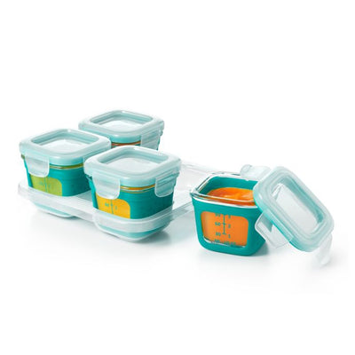 OXO Tot 4 oz. Glass Baby Food Storage Blocks with Silicone Sleeves in Teal (Set of 4)