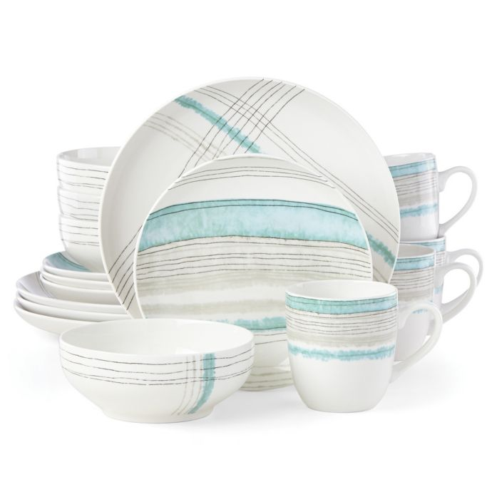 Lenox Woven Stripes Aqua 16-Piece Dinnerware Set