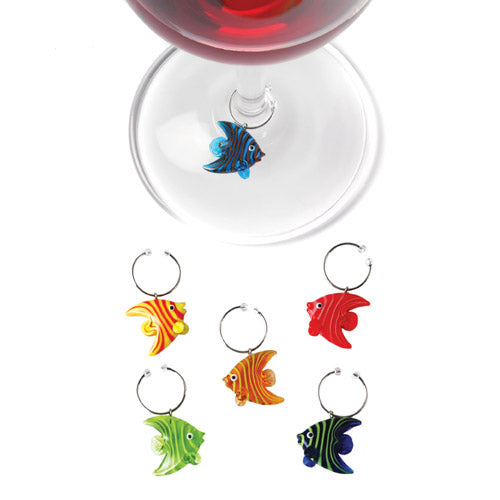 True Fabrications Glass Angelfish Wine Charms