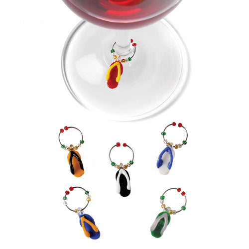 True Fabrications Glass Flip Flop Wine Charms