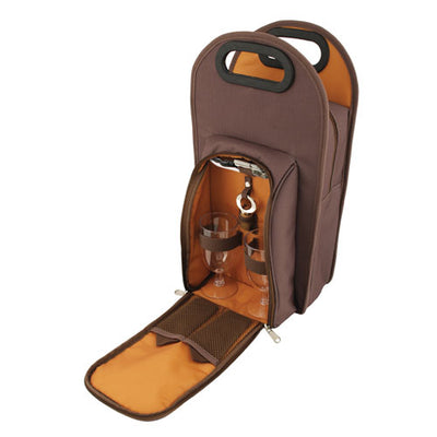True Fabrications Brown Metropolitan 2-Bottle Tote