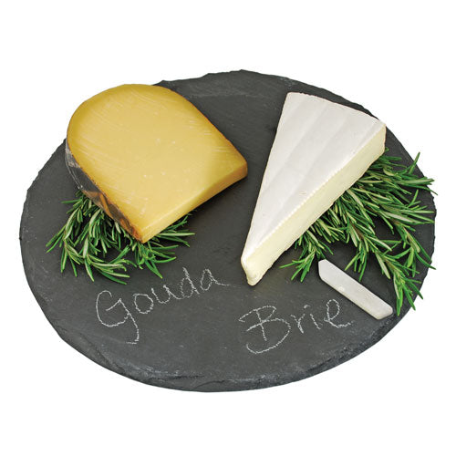 True Fabrications Round Slate Cheeseboard and Chalk Set