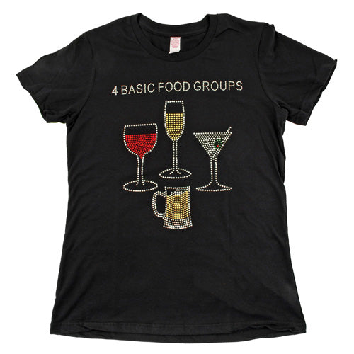 True Fabrications 4 Basic Food Groups Rhinestone T-Shirt