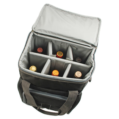 True Fabrications 6 Bottle Rolling Suitcase