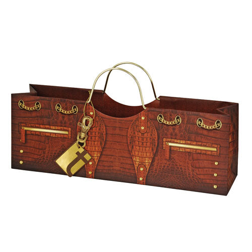 True Fabrications Croc Wine Purse Bag