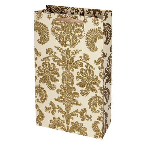 True Fabrications 2-Bottle Gold Damask Bag
