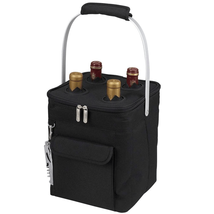 Picnic at Ascot 4-Bottle Collapsible Multi-purpose Cooler - Black