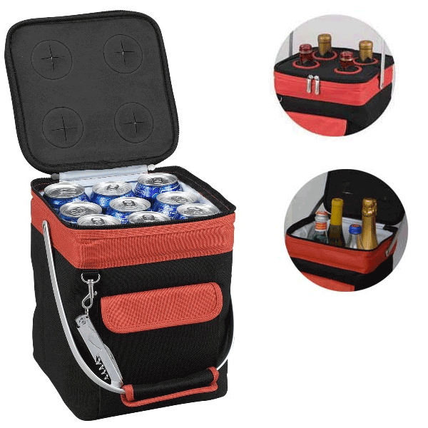 Picnic at Ascot 4-Bottle Collapsible Multi-purpose Cooler - Orange