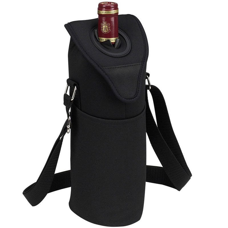 Picnic at Ascot Neoprene Single Bottle Tote - Black
