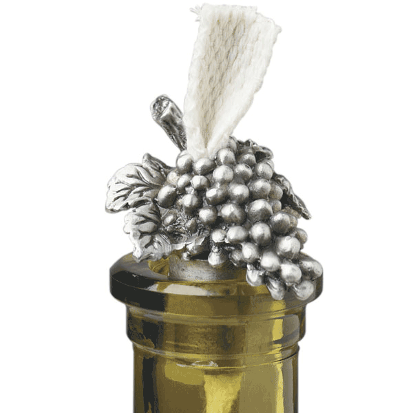 Pewter Grapes Bottle Candle