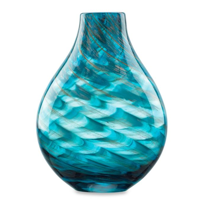 Lenox Seaview 11-Inch Glass Swirl Bottle Vase in Blue