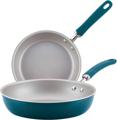Rachael Ray Create Delicious 2 Piece Nonstick Skillet Set, Teal Shimmer