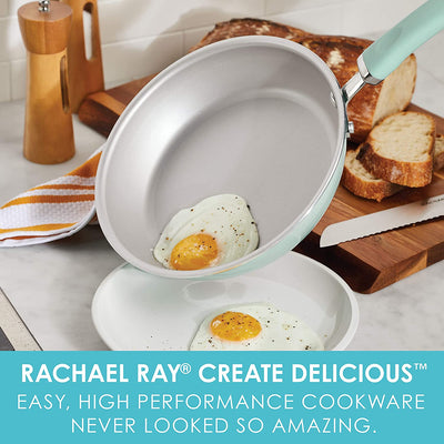 Rachael Ray Create Delicious 9.5 Inch Nonstick Deep Fry Pan, Light Blue Shimmer