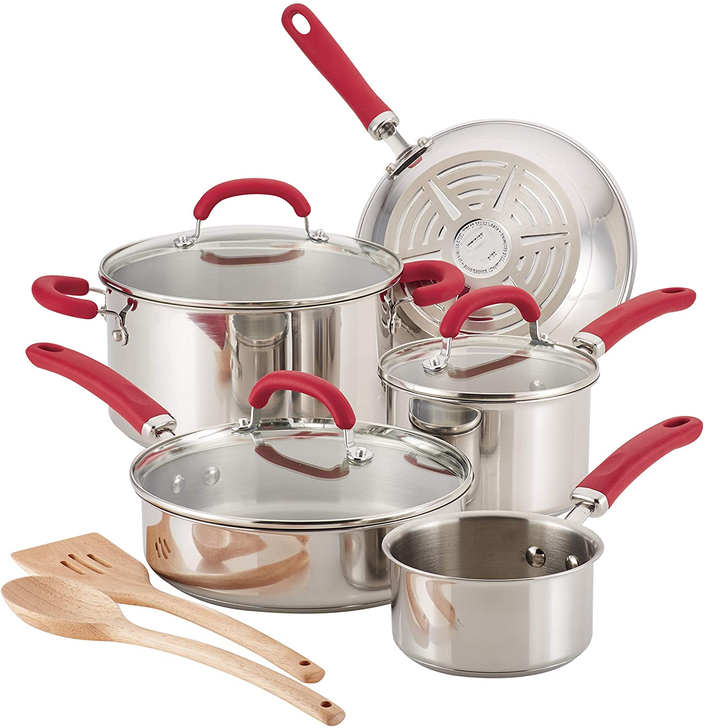 Rachael Ray Create Delicious 10 Piece Stainless Steel Cookware Set, Stainless Steel with Red Handles