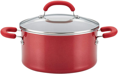 Rachael Ray Create Delicious Nonstick Stock Pot/Stockpot with Lid - 6 Quart, Red Shimmer
