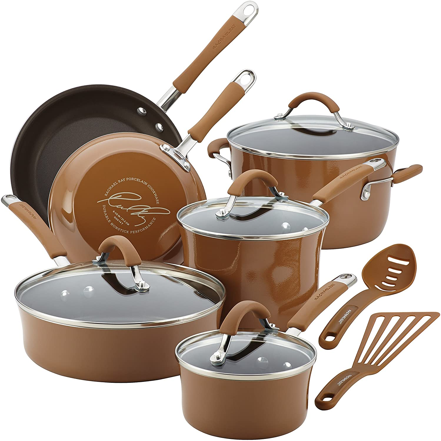 Rachael Ray Cucina 12 Piece Nonstick Cookware Set, Mushroom Brown