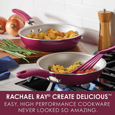 Rachael Ray Create Delicious 2 Piece Nonstick Skillet Set, Burgundy Shimmer