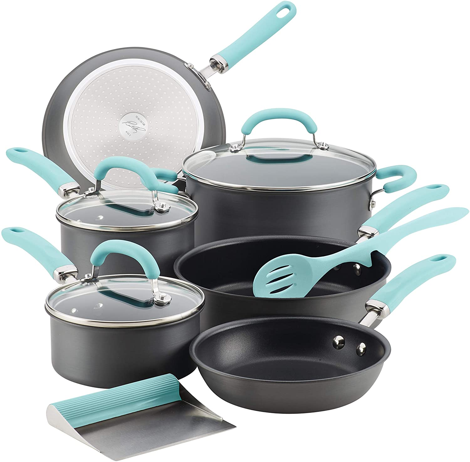 Rachael Ray Create Delicious Hard Anodized Nonstick Cookware Pots and Pans Set, 11 Piece, Gray with Light Blue Handles