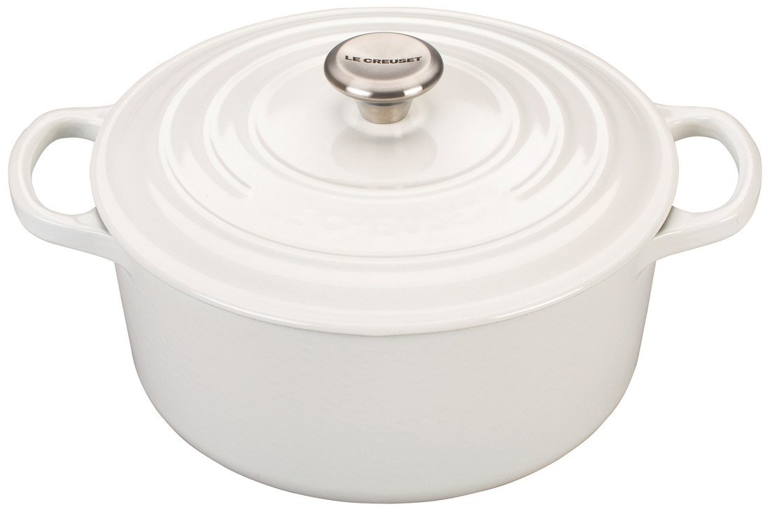 Le Creuset Signature 5.5 Quart Round Enameled Cast Iron Dutch Oven - White
