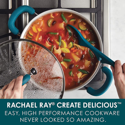 Rachael Ray Create Delicious Nonstick Stock Pot/Stockpot with Lid - 6 Quart, Teal Shimmer