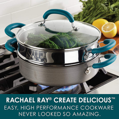 Rachael Ray Create Delicious Nonstick Multi-Pot/Steamer Set, 3 Piece, Gray With Teal Handles