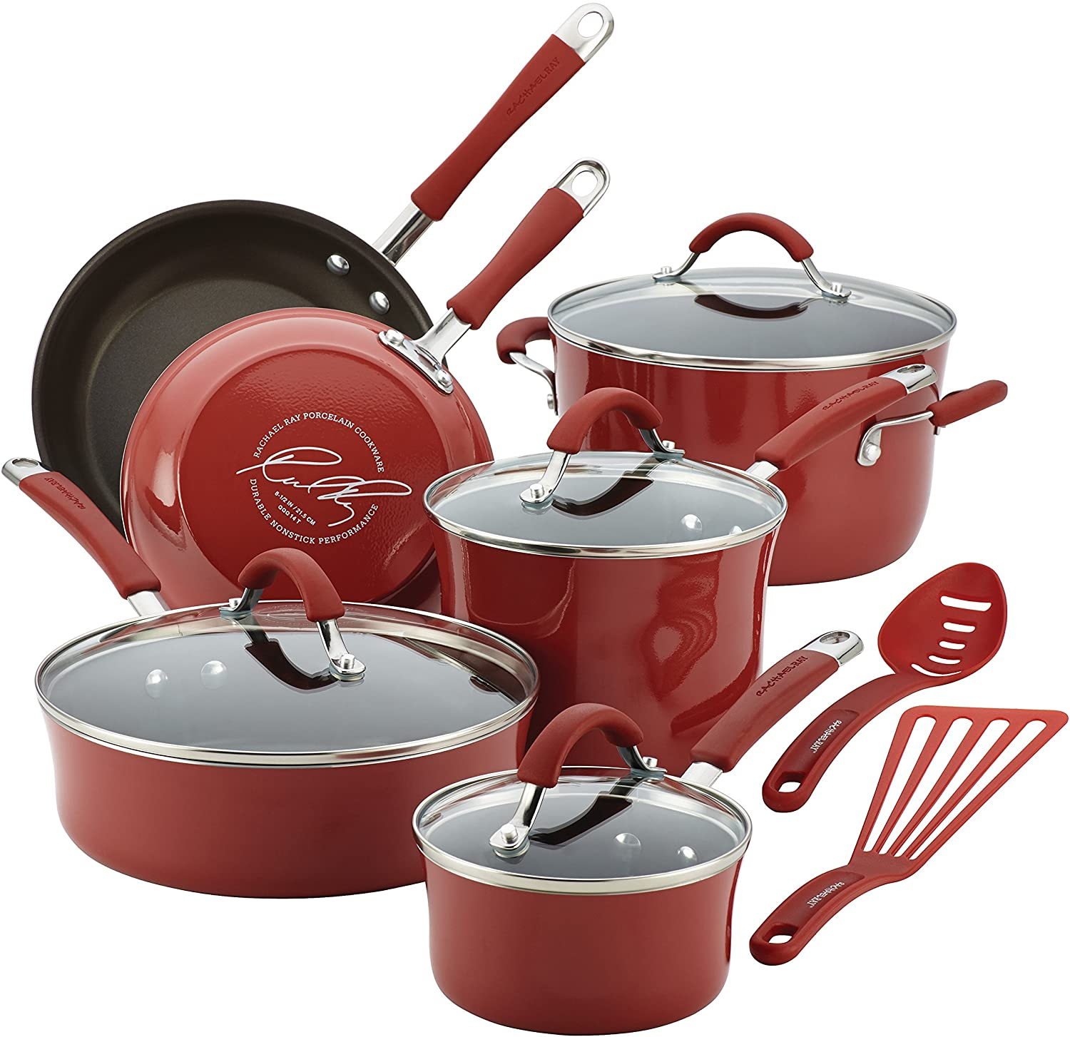 Rachael Ray Cucina 12 Piece Nonstick Cookware Set, Cranberry Red