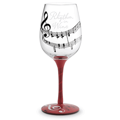 Rhythm in Wine Painted Wine Glass