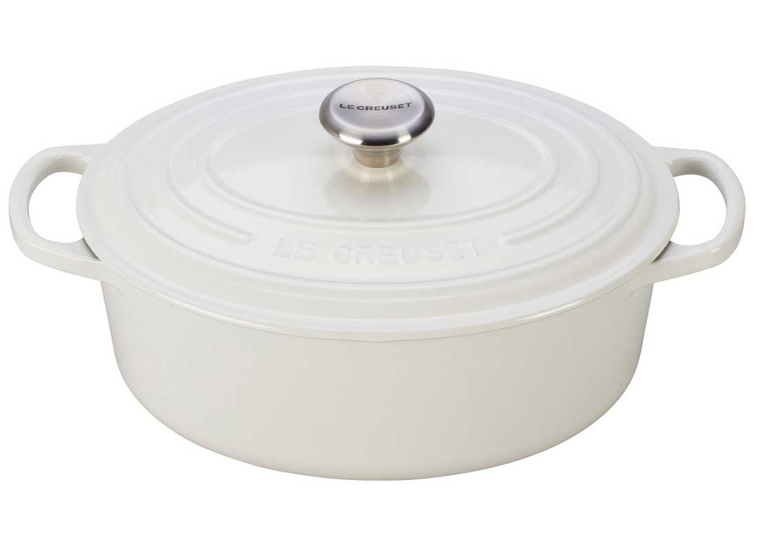 Le Creuset Signature 5 Quart Oval Enameled Cast Iron Dutch Oven - White