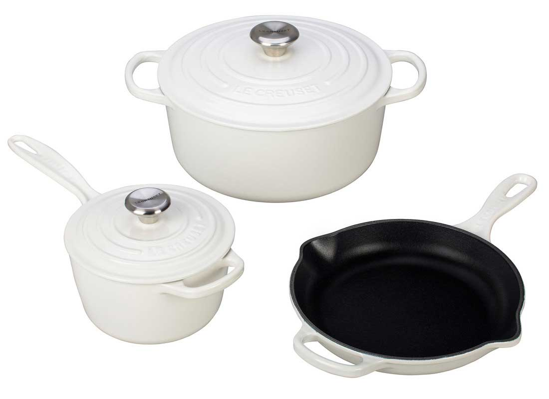 Le Creuset 5 Piece Enameled Cast Iron Signature Set - White