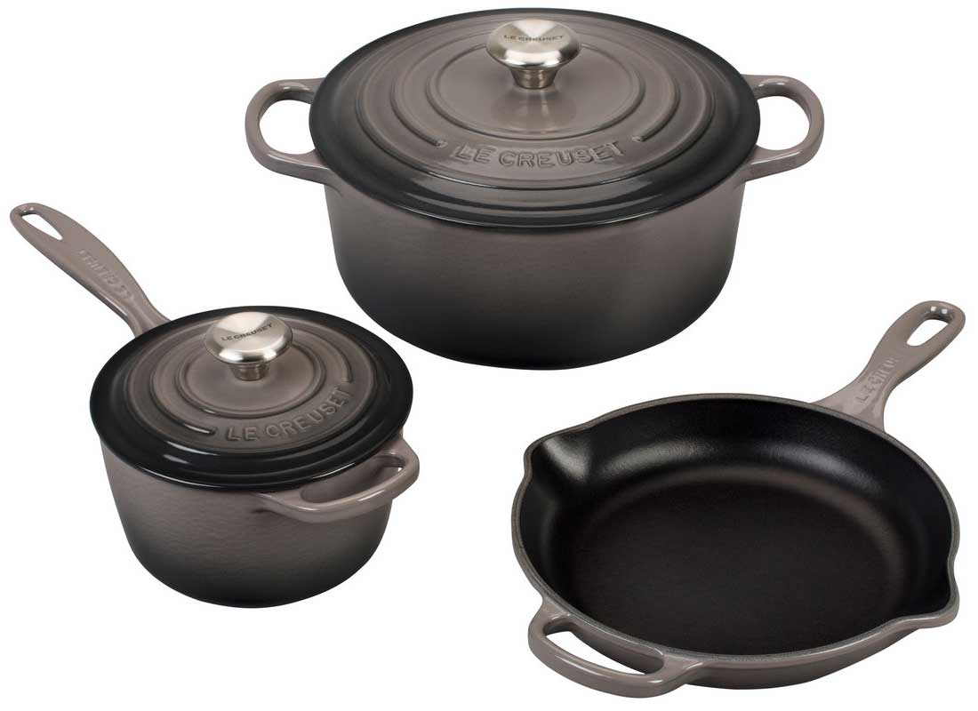 Le Creuset 5 Piece Enameled Cast Iron Signature Set - Oyster