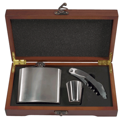 Pampered Grape Stainless Steel Flask Personal Gift Set - 5 oz