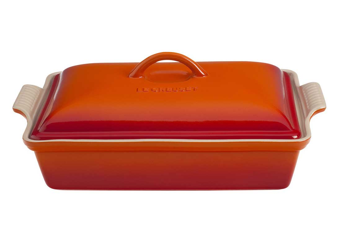 Le Creuset 4 Quart Heritage Covered Rectangular Stoneware Casserole