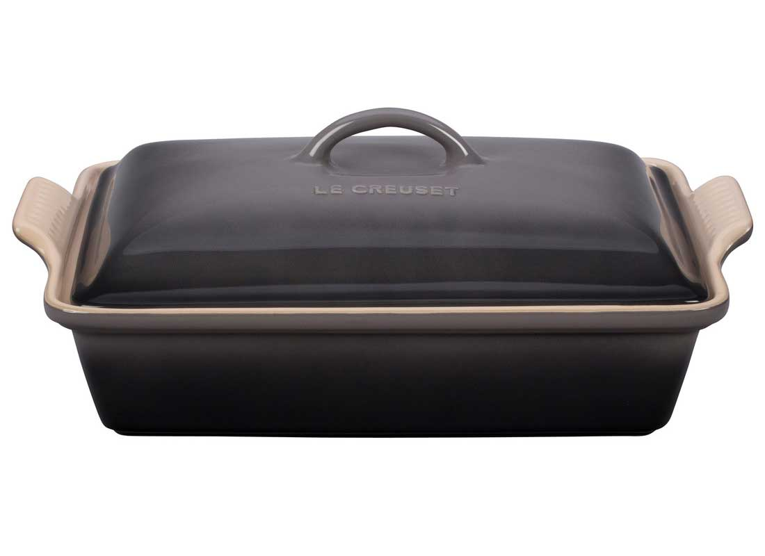 Le Creuset 4 Quart Heritage Covered Rectangular Stoneware Casserole - Oyster