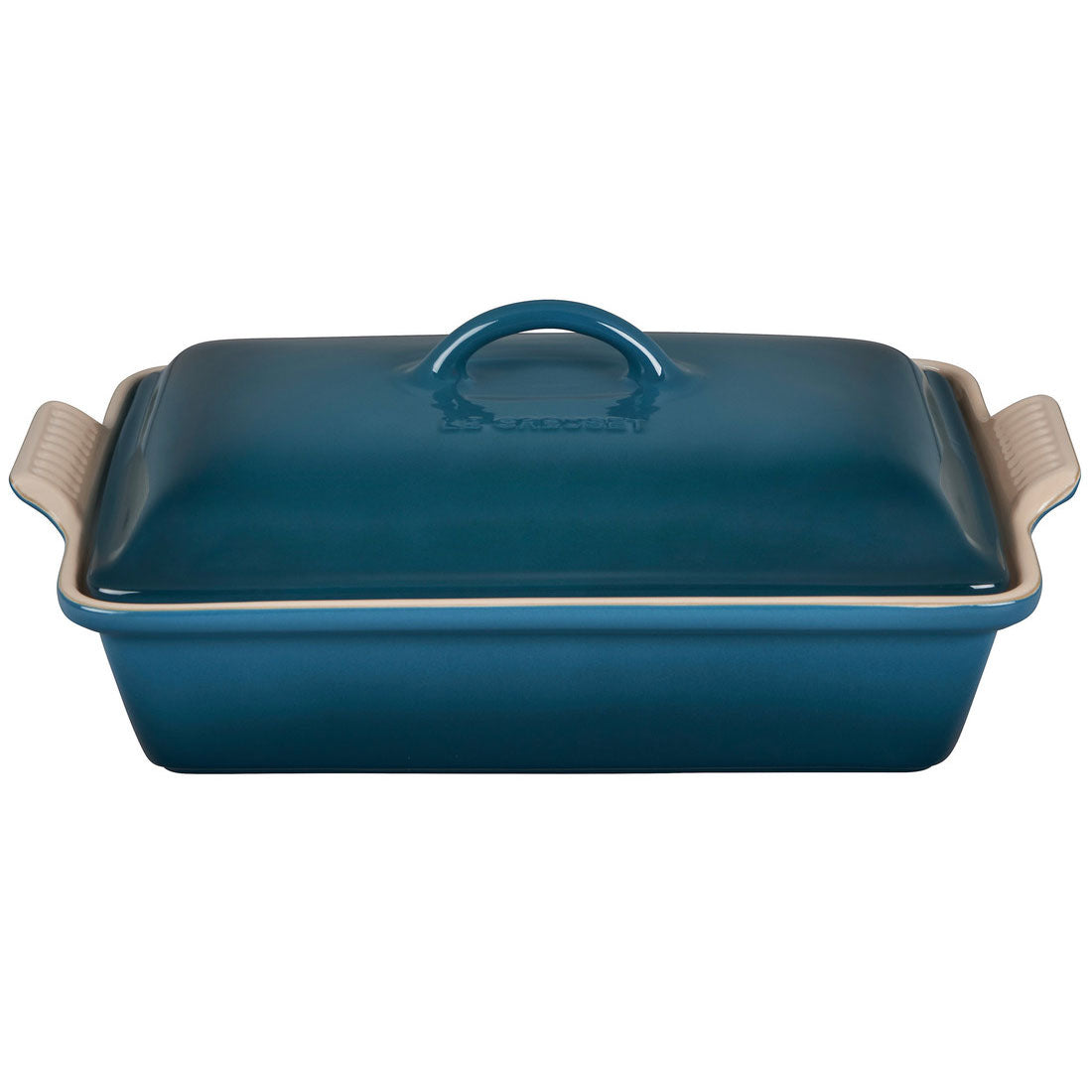 Le Creuset 4 Quart Heritage Covered Rectangular Stoneware Casserole - Deep Teal