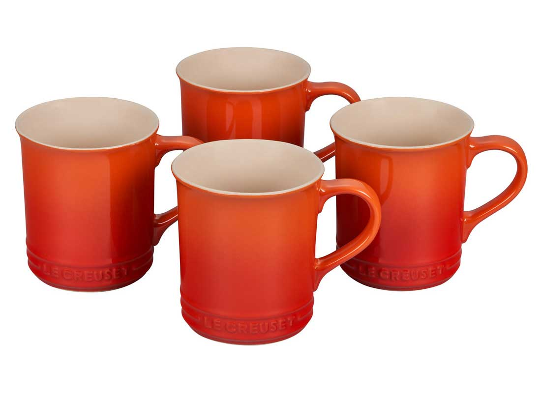 Le Creuset 14 Ounce Stoneware Mugs - Set of 4