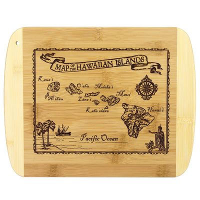 Totally Bamboo Vintage Hawaiian Islands Map Engraved Bamboo Serving and Cutting Board