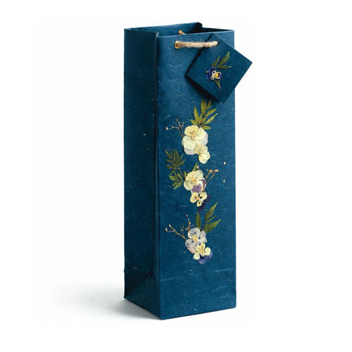 Blue Wildflowers Wine Gift Bag - Set of 4